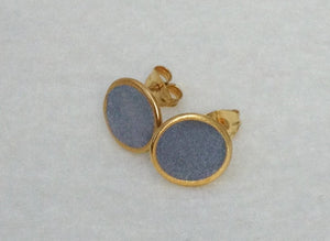 Delicate Round Gold And Concrete Studs - hs