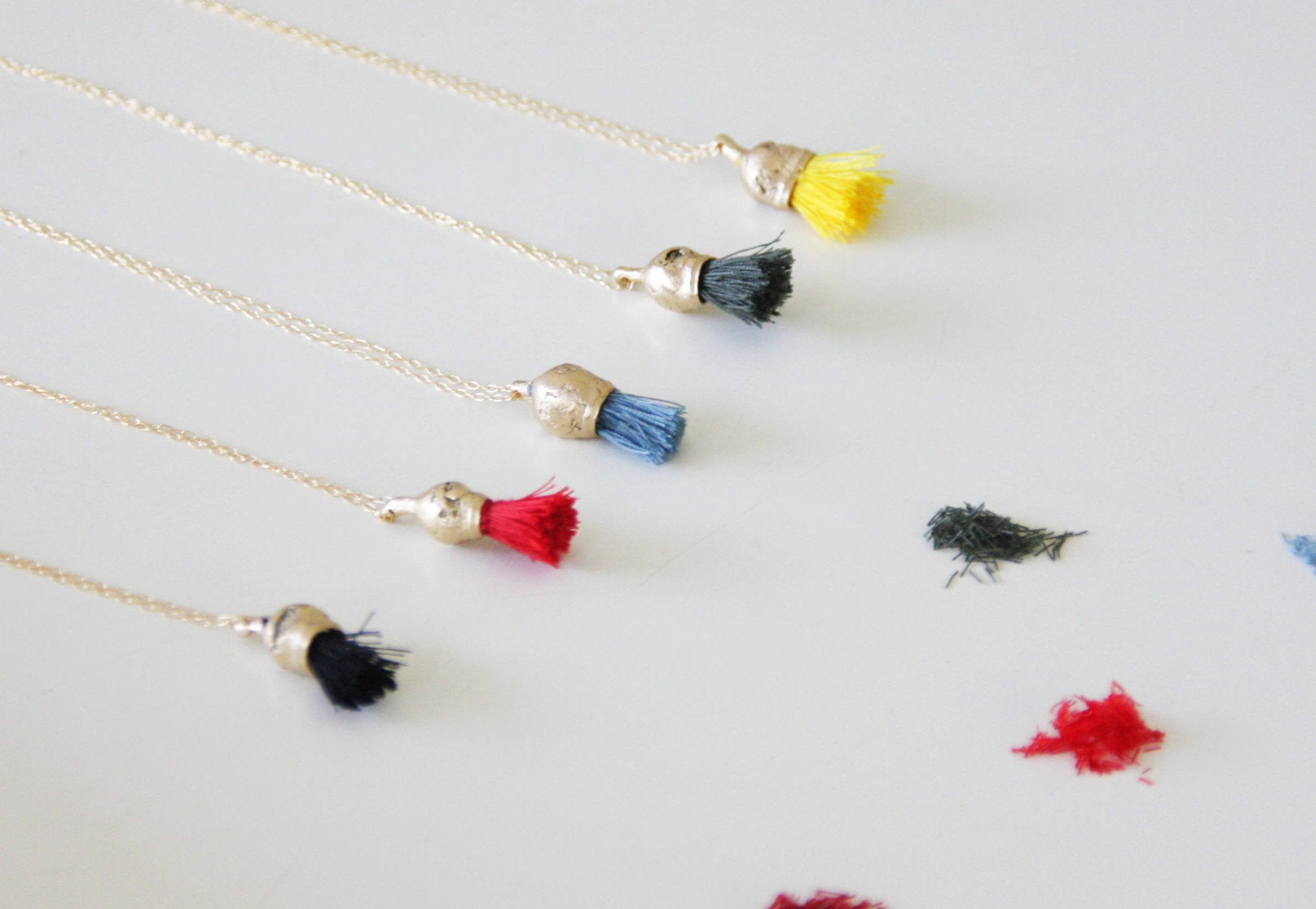 Christmas Red Tassel Necklace / Gold And Cotton Pendant / Organic Necklace / Gold Charm Pendant - hs