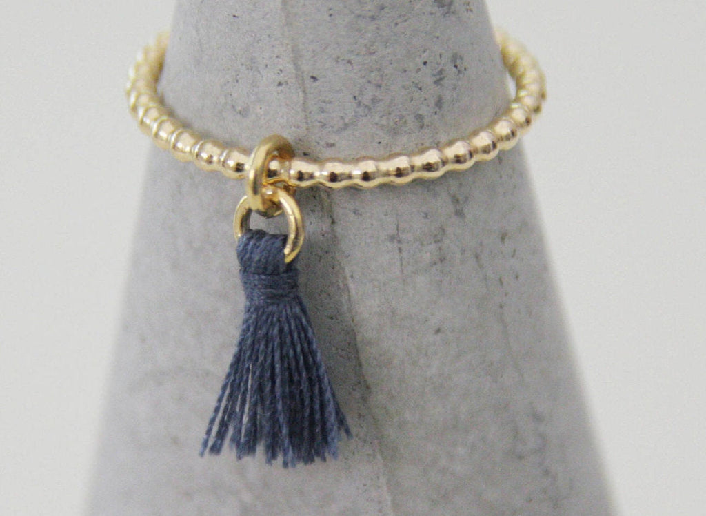 Gold Filed Colored Blue Tassel Delicate Ring - hs