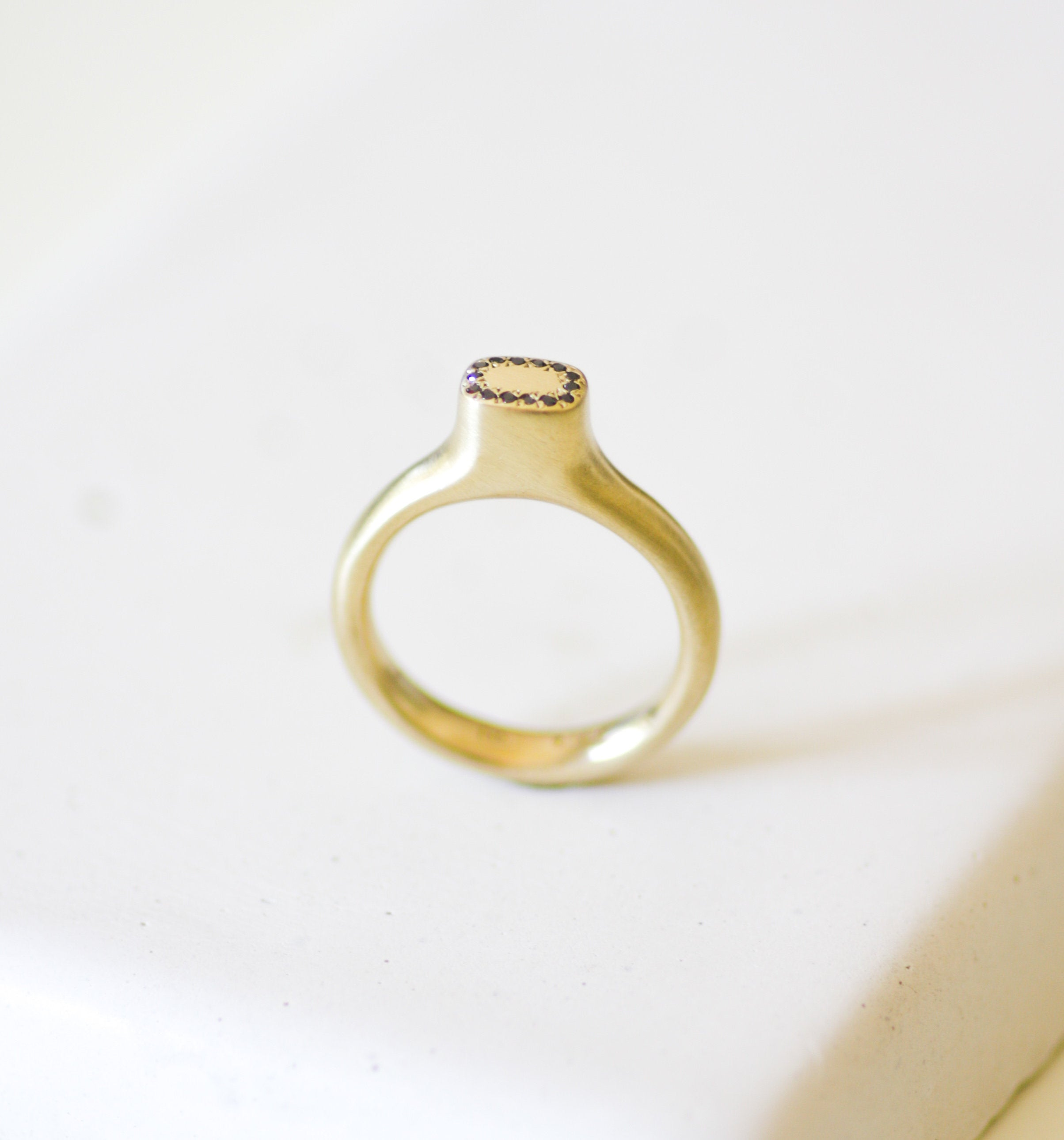 Dainty Signet 14K Gold Ring with Black Diamonds / Solid Gold Top Ring - hs