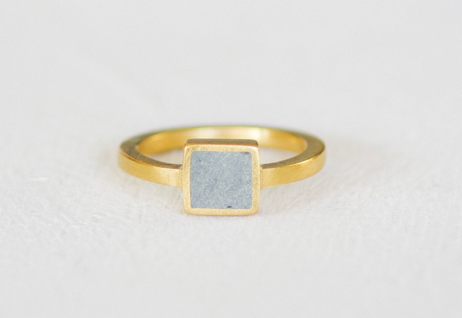 Gold And Concrete Square Ring, Pinky Gold Ring, Delicate Concrete Ring, Cement Jewelry, Concrete Ring Hadas Shaham - hs