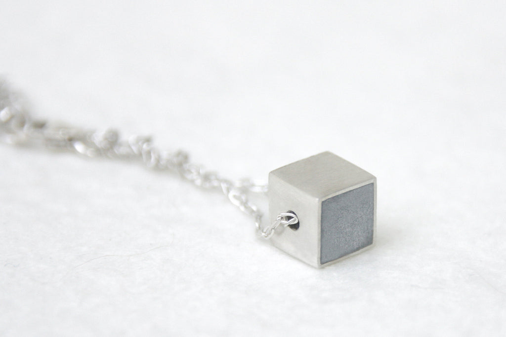 Silver & Concrete Tiny Geometric Cube Necklace - hs