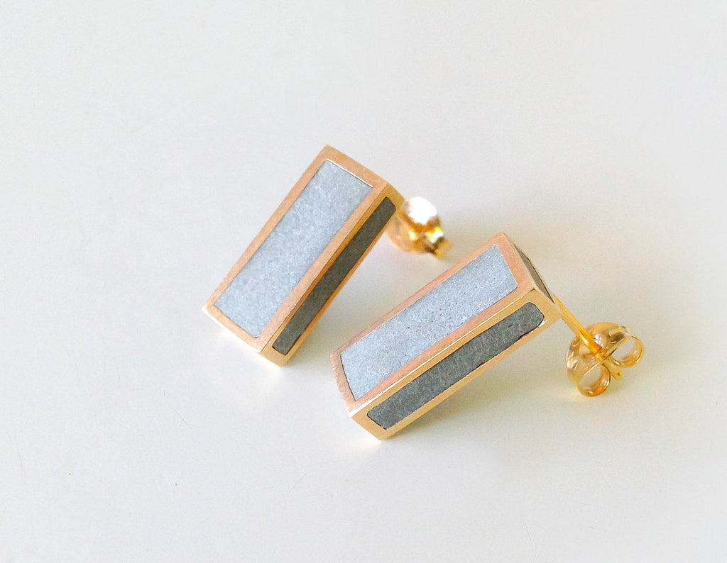 Gold & Concrete geometric minimalist rectangle studs Earrings - hs