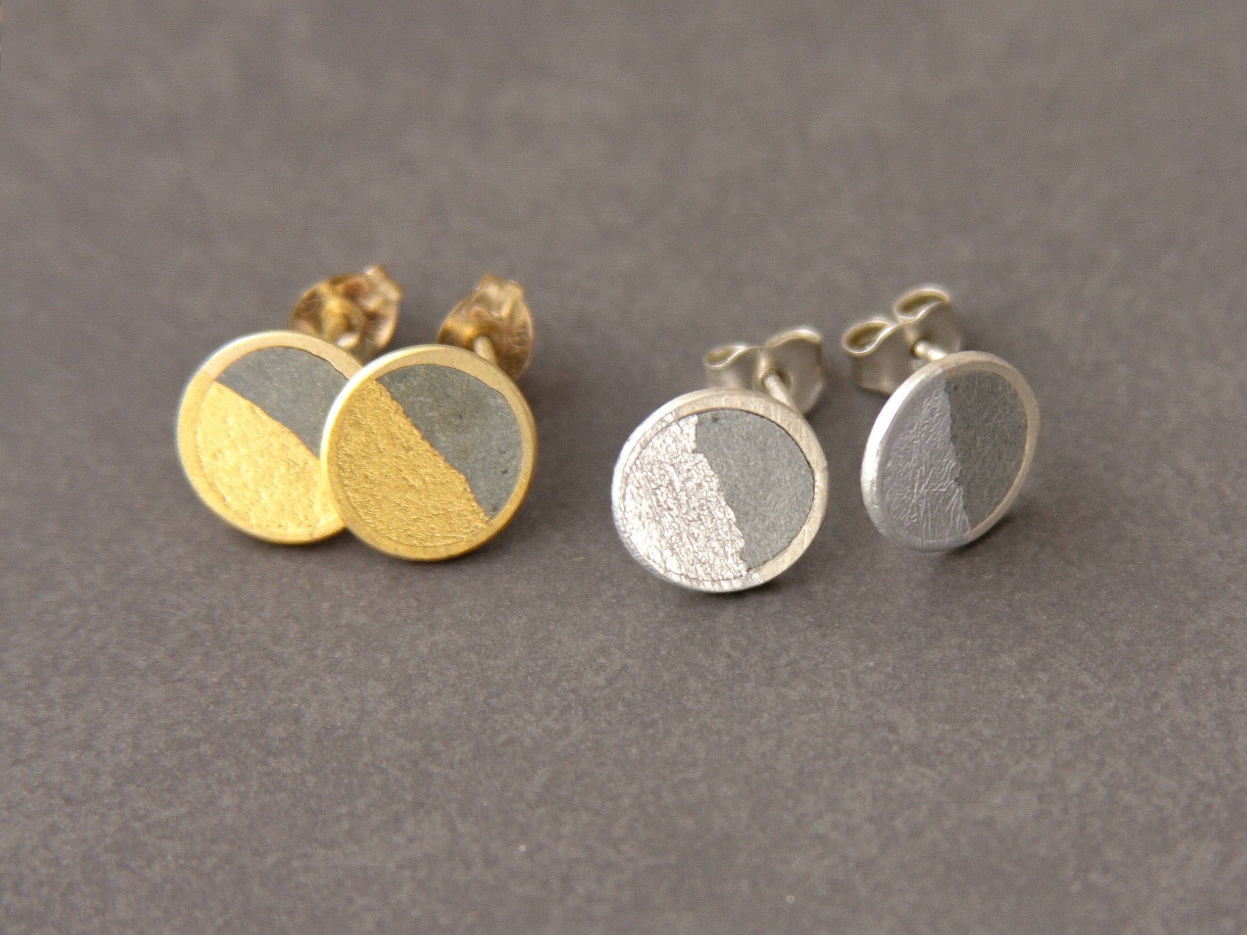 Round Gold and Concrete Post Birthday Earrings - hs