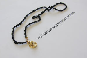 Gold and Black Miyuki stones Toggle Clasp Necklace - hs