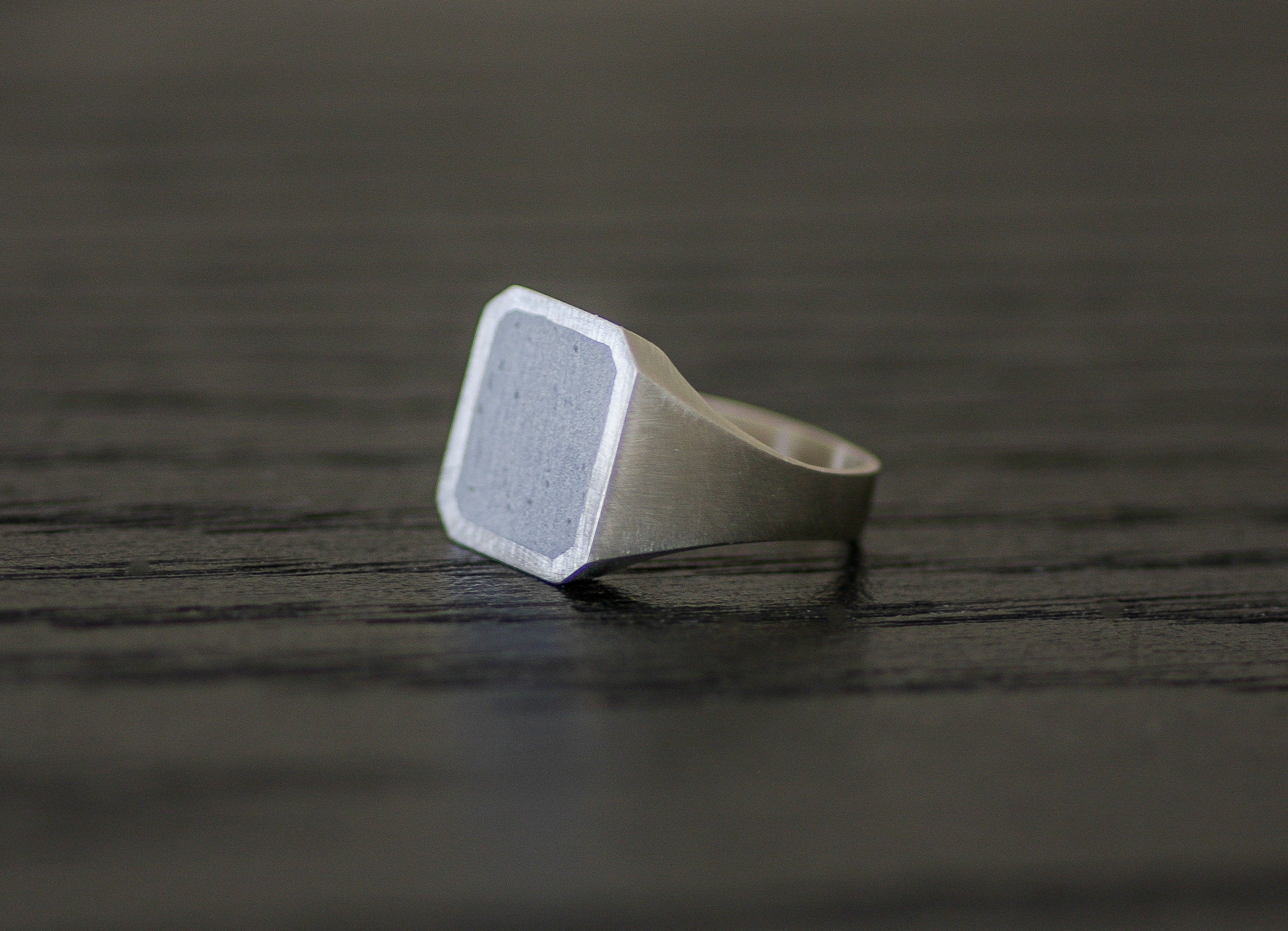 Gold and Concrete Signet Ring, Letter ring, Initial Square Ring, Cement Jewelry, Man Concrete Ring, Hadas Shaham - hs