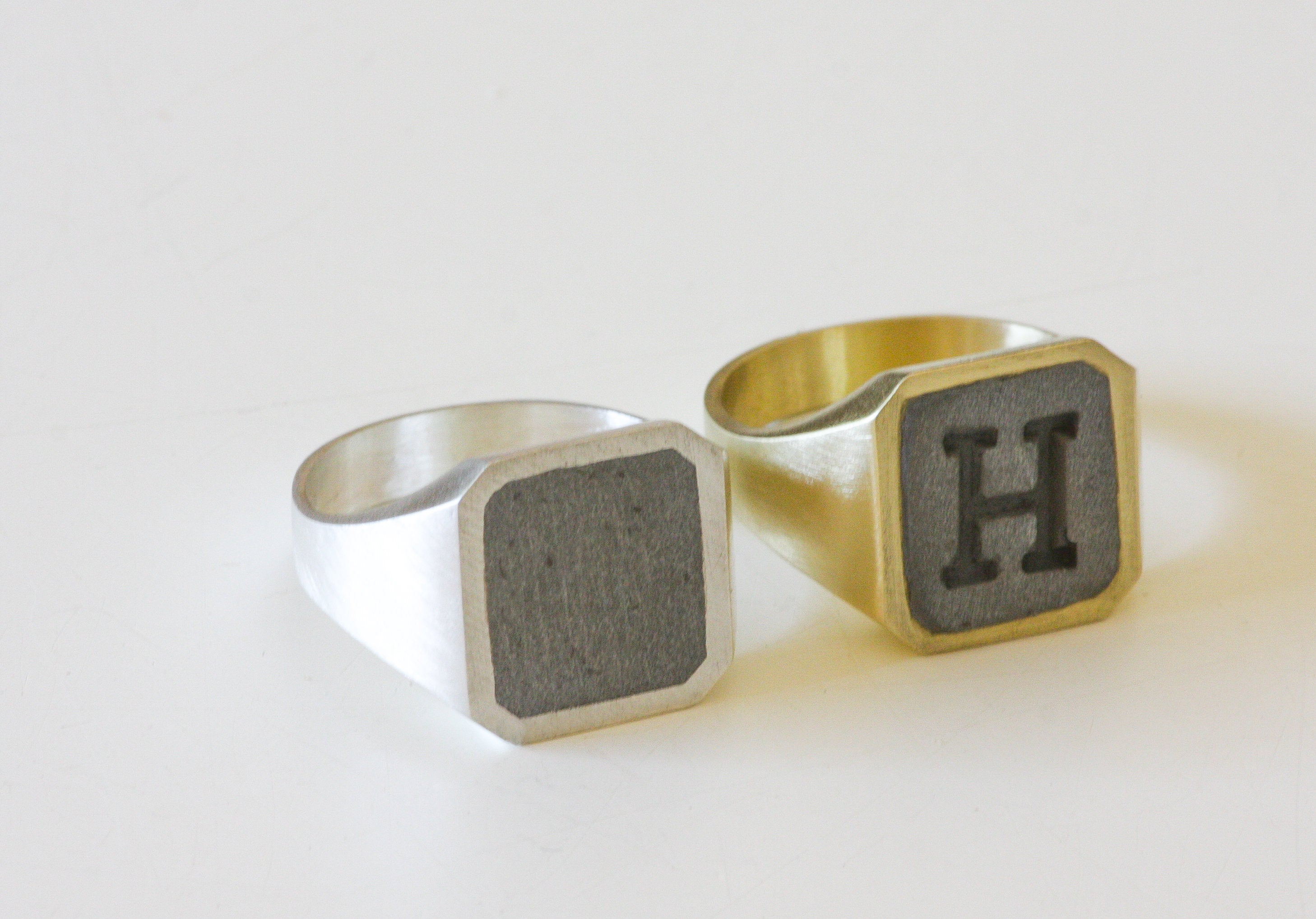 Man initial Silver and Concrete Ring - hs