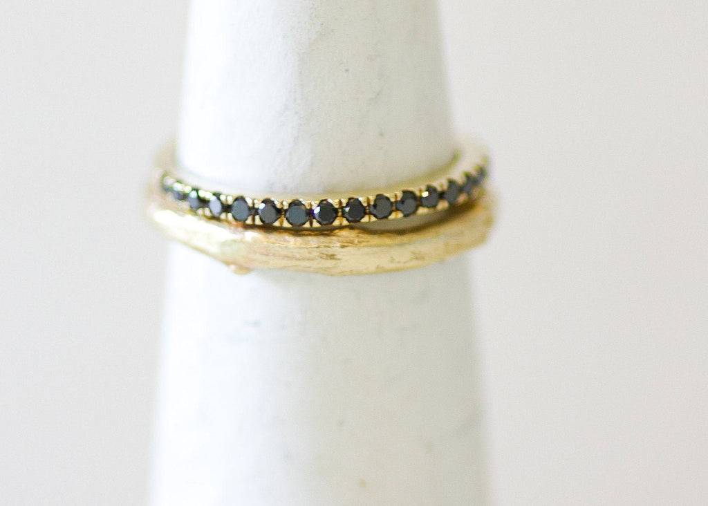 Half Eternity / 14K Yellow Gold Ring Set With Black Diamonds / Delicate  Diamond Band Ring - hs