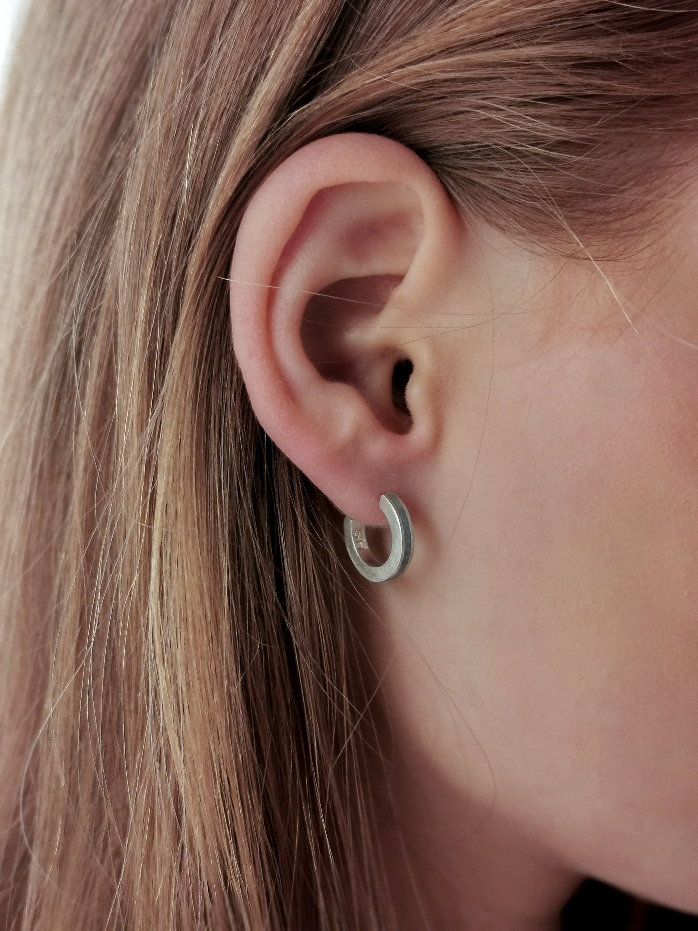 Contemporary Minimalist Silver & Concrete Small Hoop Earrings - hs