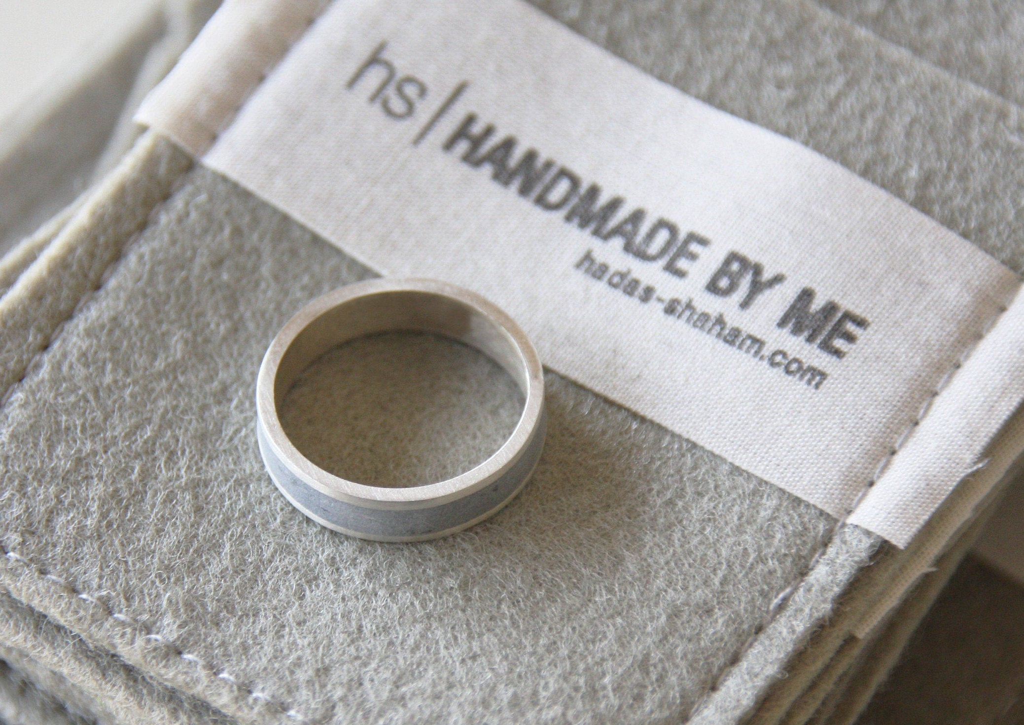 Silver and Concrete Unisex Wedding Band Ring - hs