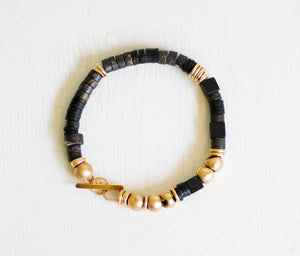 Pyrite Bracelet with Black Rubber and Gold Beads / Beaded Bracelet / Black Bracelet / Gemstone and Gold / Toggle Bracelet - hs