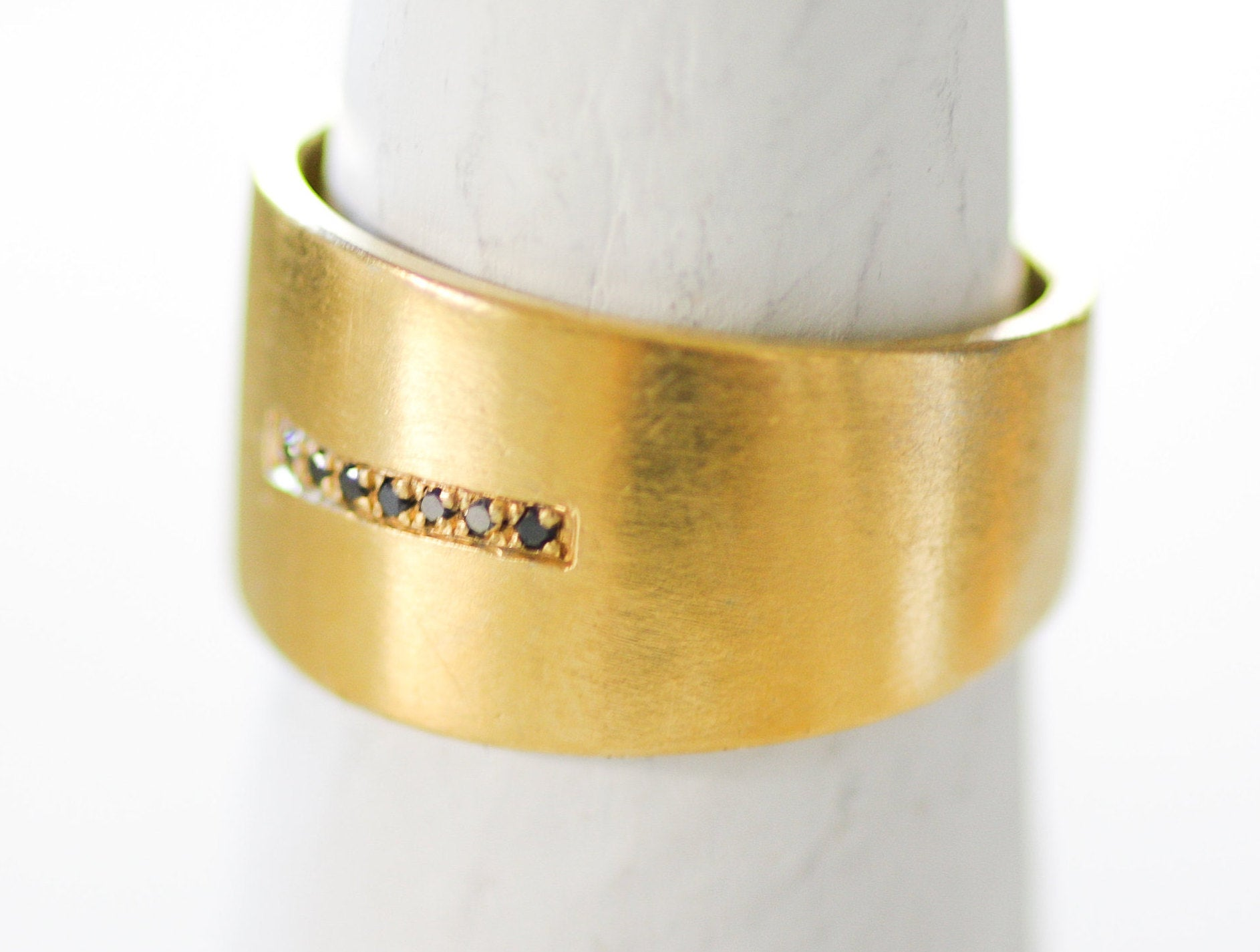 14K Yellow Gold Wide Band Ring Set with 7 Black Diamonds - hs