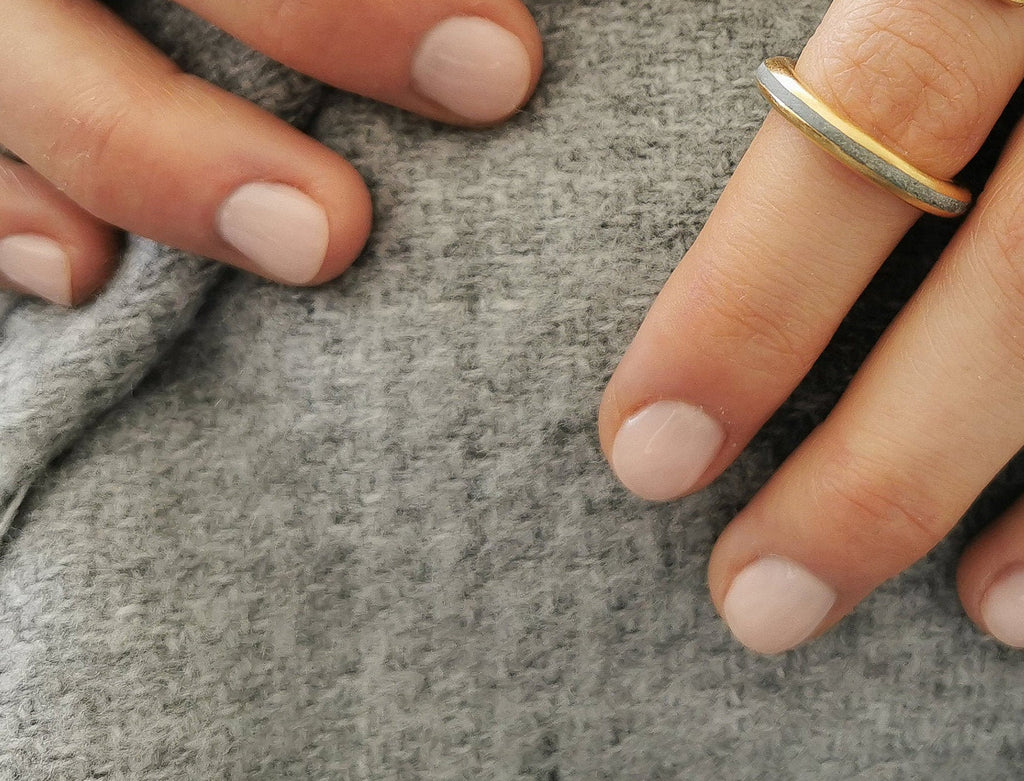 Gold And Concrete Round Profile Wedding Band - hs