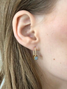 Minimalist silver & concrete cube dangle Earrings - hs