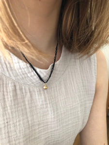 14K Solid Gold Pendant With Black Knitted Necklace Thread - hs