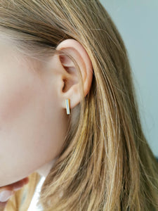 Tiny line gold & concrete bar earrings - hs
