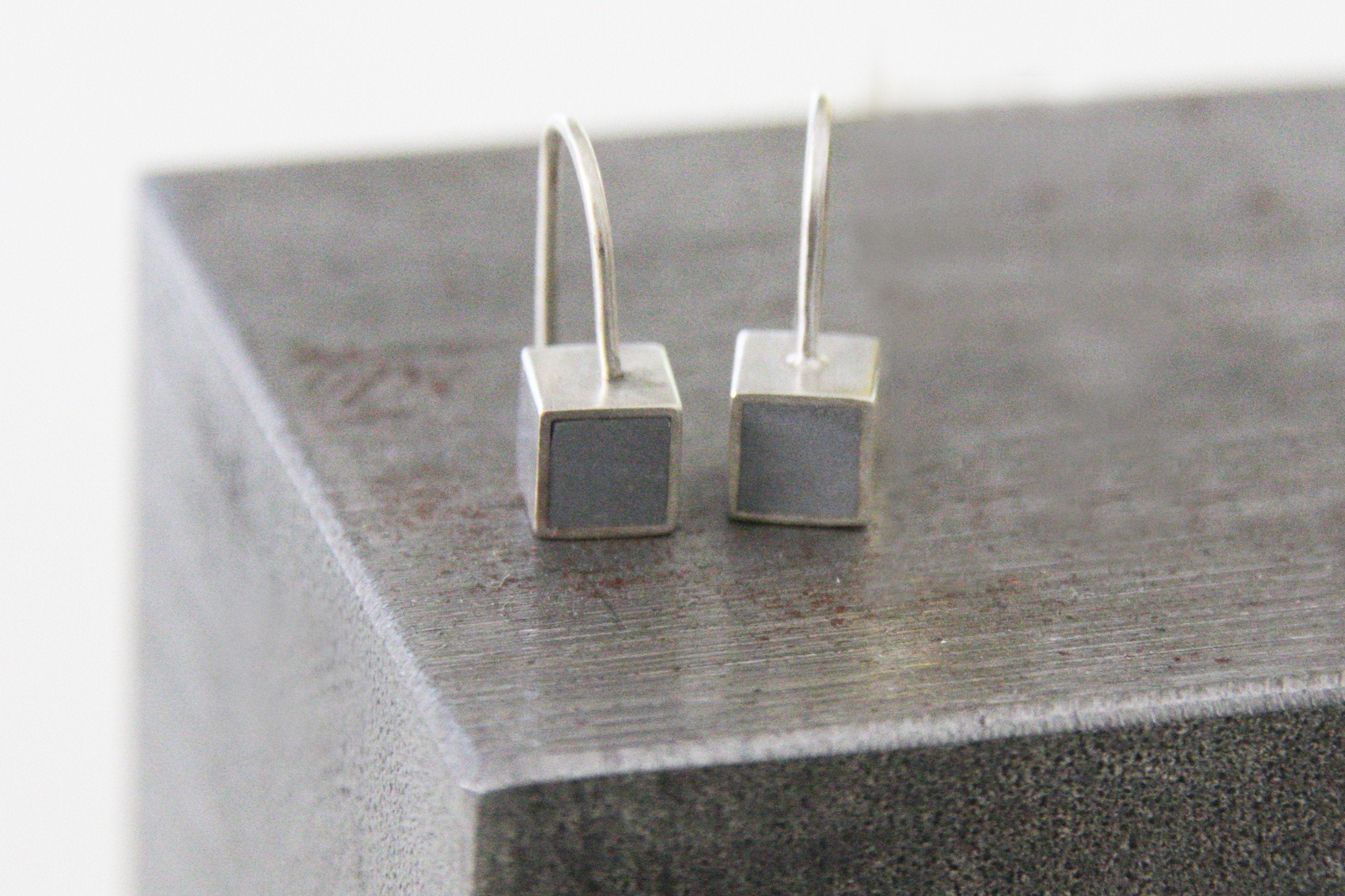 Tiny cube dangle Earrings with Gold leaf - hs