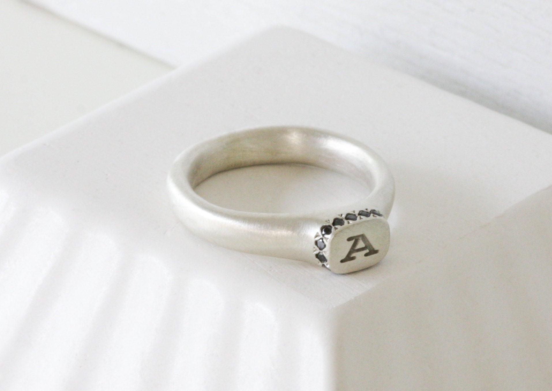 Personalized Silver and Black Diamonds Initial Ring Jewelry // Custom made - hs