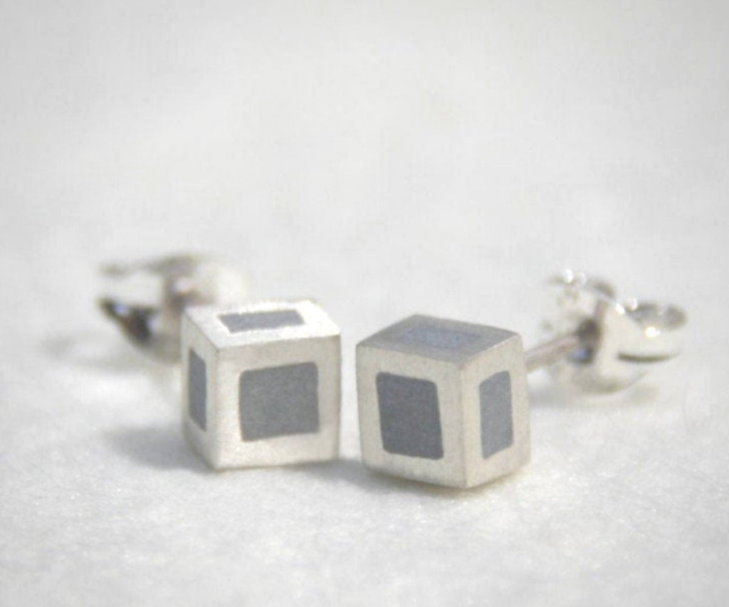 14K White Gold and Concrete 3D Cube Modern Studs Earrings - hs