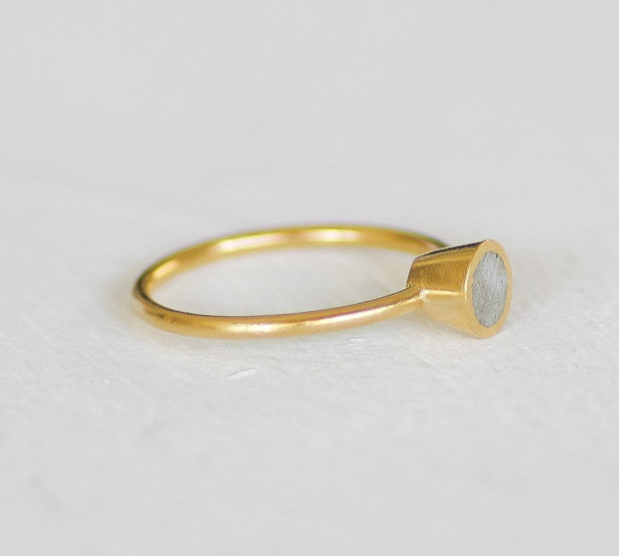 Gold and Concrete Engagement Cone Shape Ring - hs