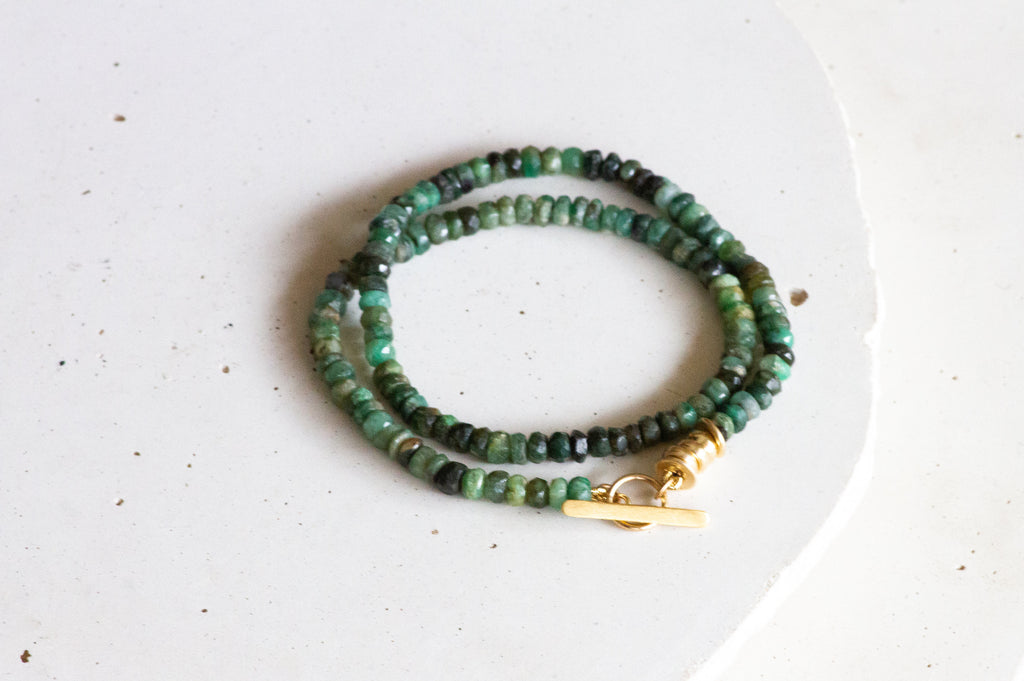 Green Emerald and Gold Layered Bracelet - hs