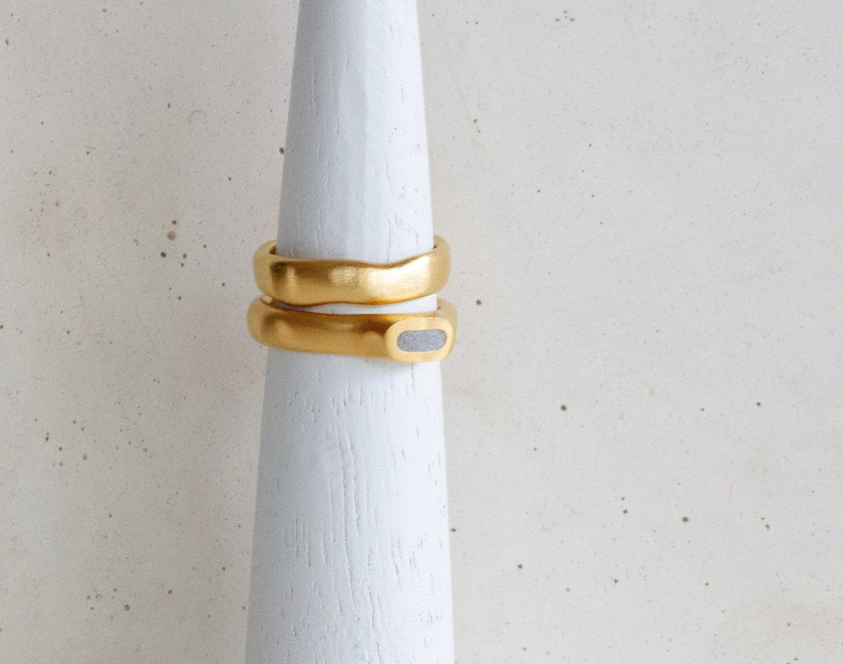 Gold and Concrete Oval Ring - hs