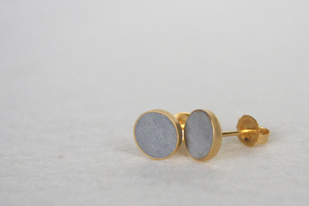 Round Concrete Stud Earrings - hs