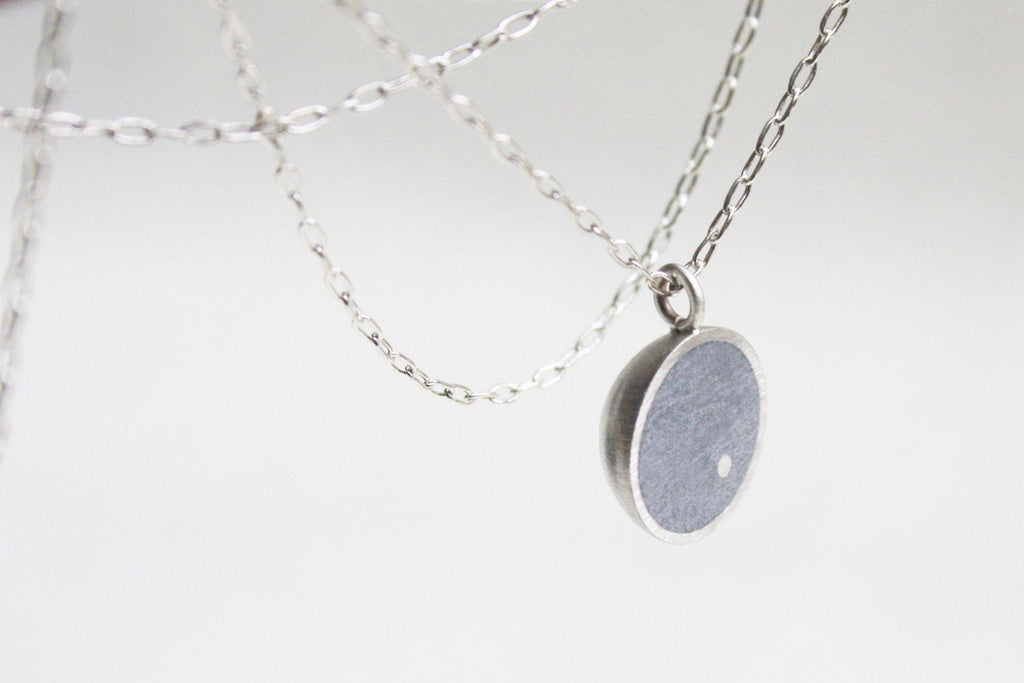 Silver Everyday Round Concrete Pendant - hs