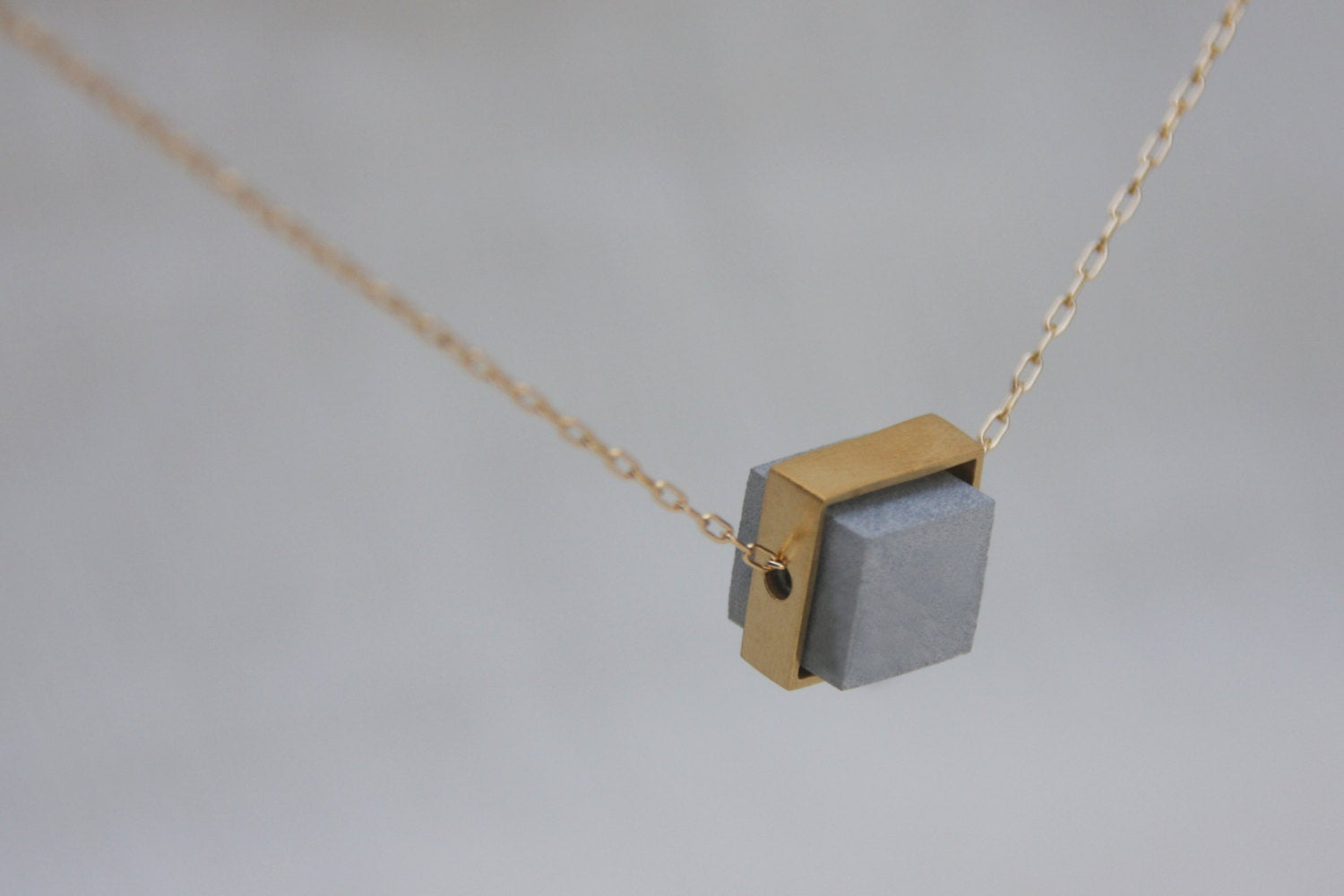 Architecture Everyday Modern Geometric Gold & Concrete Cube Necklace - hs
