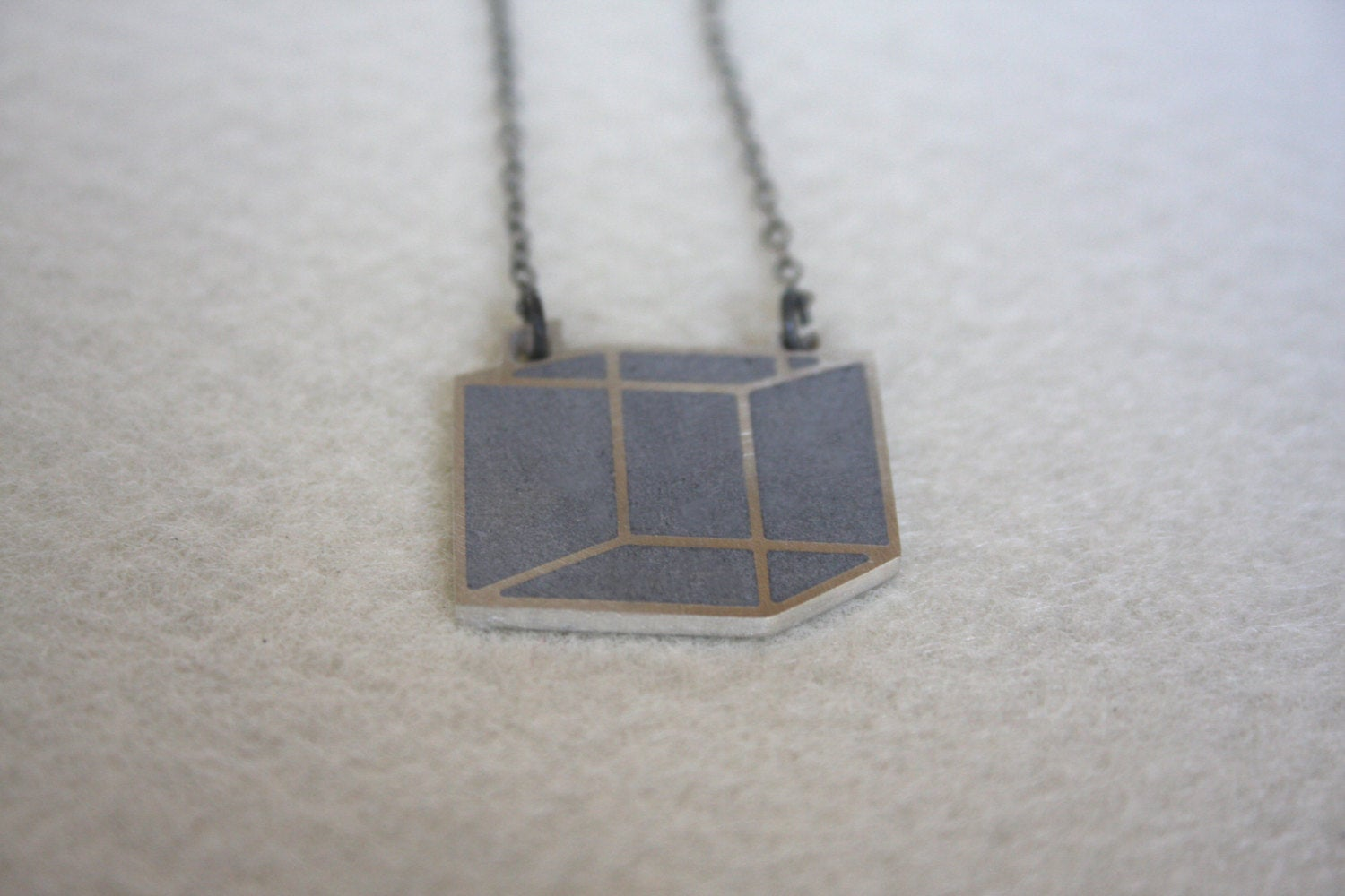 SALE 50% OFF - Unique Industrial 3D Gold Cube Necklace - hs