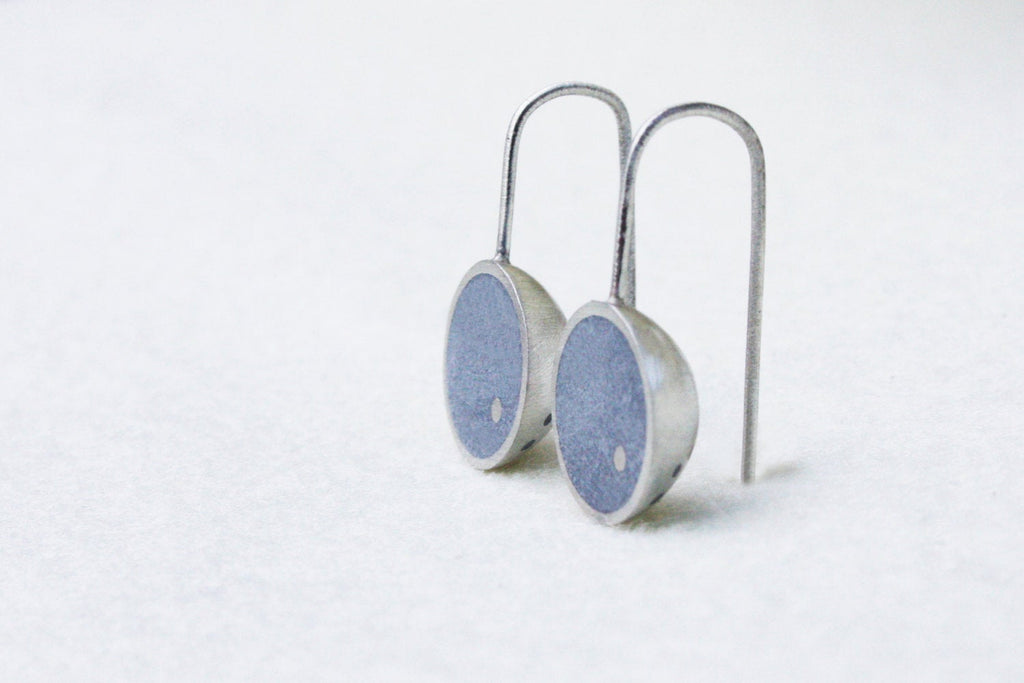 Modern semicircle silver & concrete modern earrings - hs