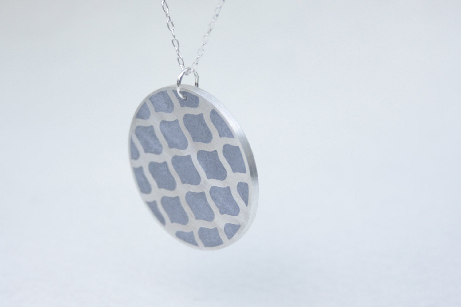 Long Disc Pattern Gold & Concrete Pendant - hs