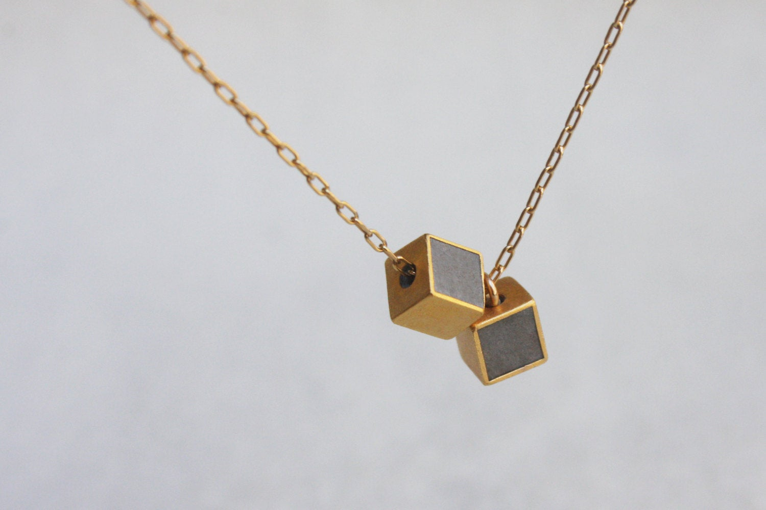 Petite Double Cube Gold & Concrete Necklace - hs