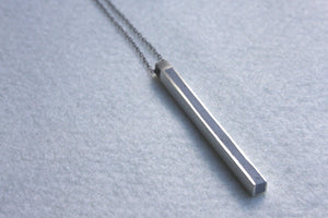 Silver Line Vertical Bar Necklace - hs