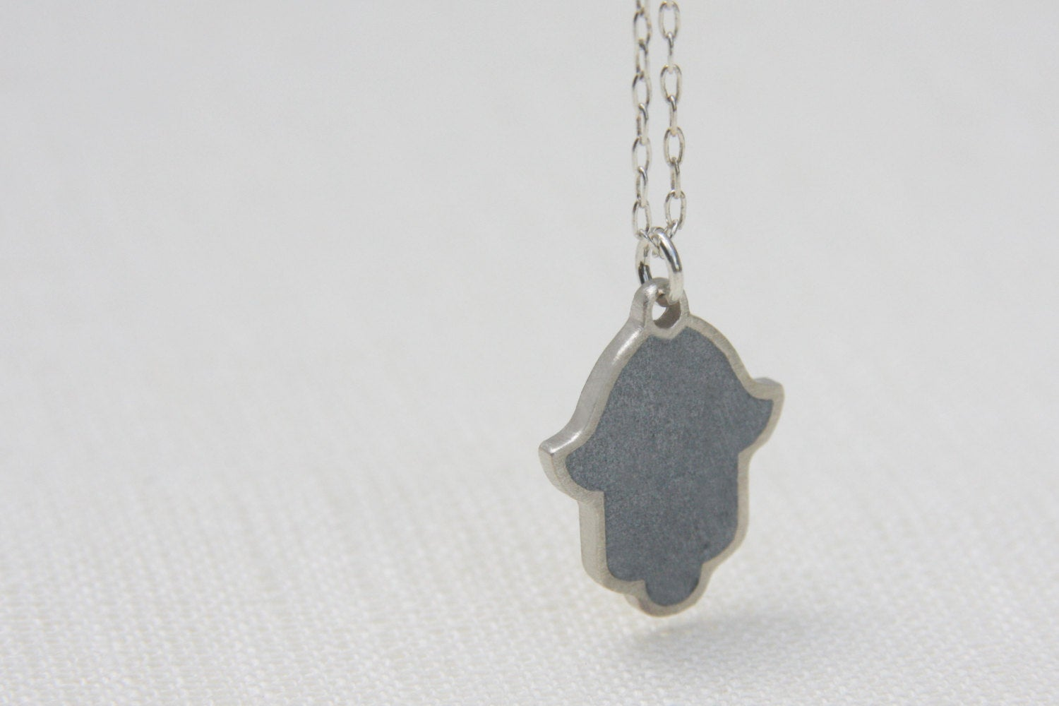 Modern Judaica Silver Hamsa Necklace - hs