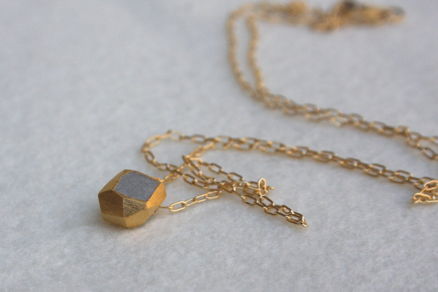 Plated Gold Minimalist Tiny Nugget Necklace - hs