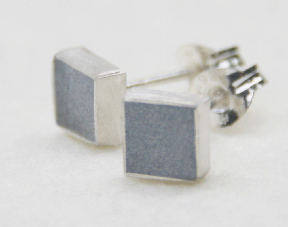 Casual Small Square Silver Concrete Studs - hs