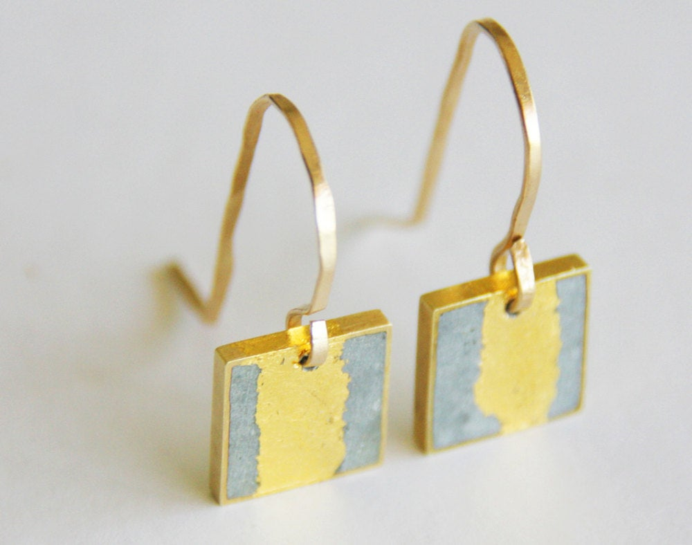 Gold & concrete square gold-leaf dangle earrings - hs