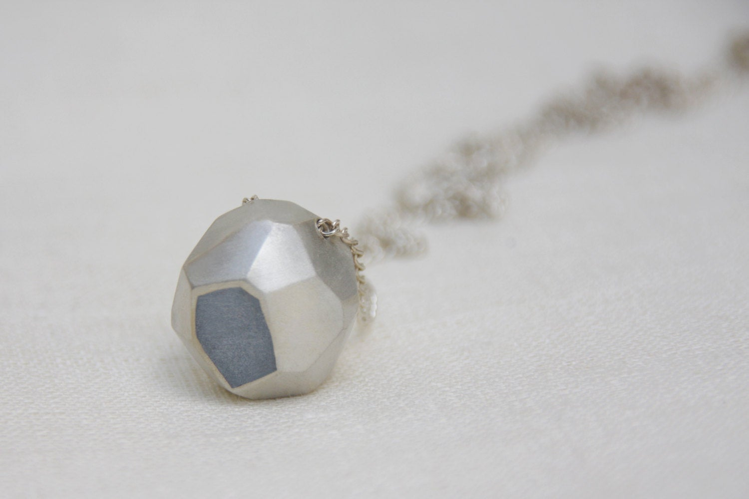 Silver And Concrete Pendant Necklace, Faceted Silver Nugget - hs