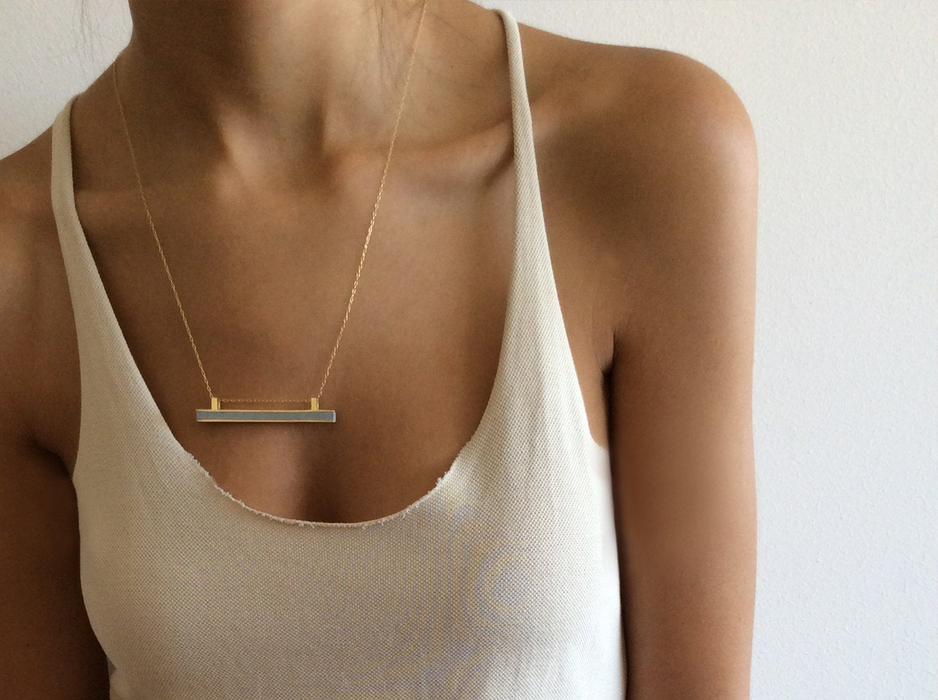 Concrete And 14K Yellow Solid Gold Bar Line Minimalist Pendant Necklace - hs