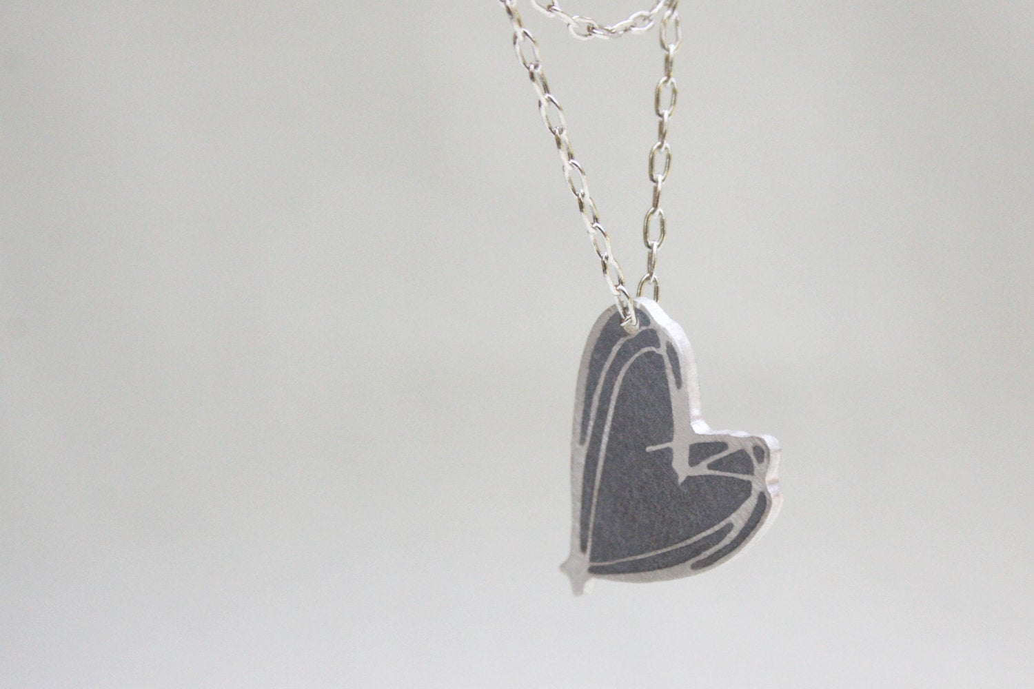 Concrete & Silver Heart Necklace For Valentine's Day Gift - hs