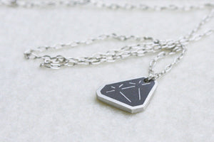 Tiny Silver Diamond shaped necklace - hs