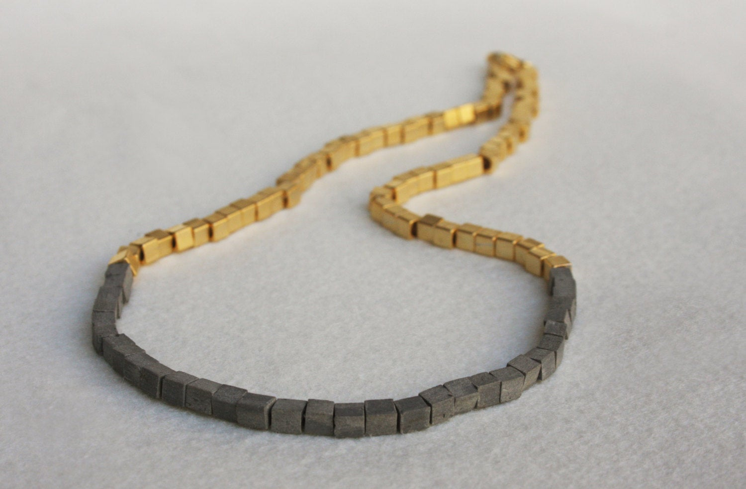 Gray And Gold Minimalist Cubes Necklace - hs