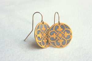 Ethnic Pattern Statement Dangle Gold & concrete earrings - hs
