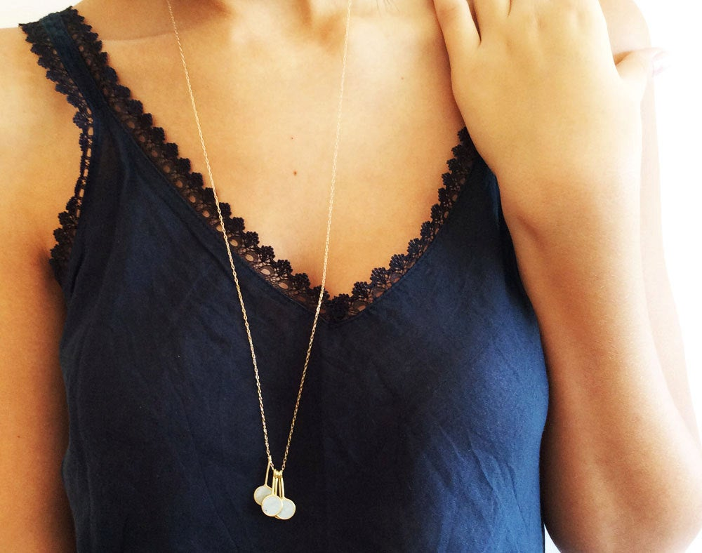 Round Concrete Necklace, Long Gold Pendant Necklace - hs