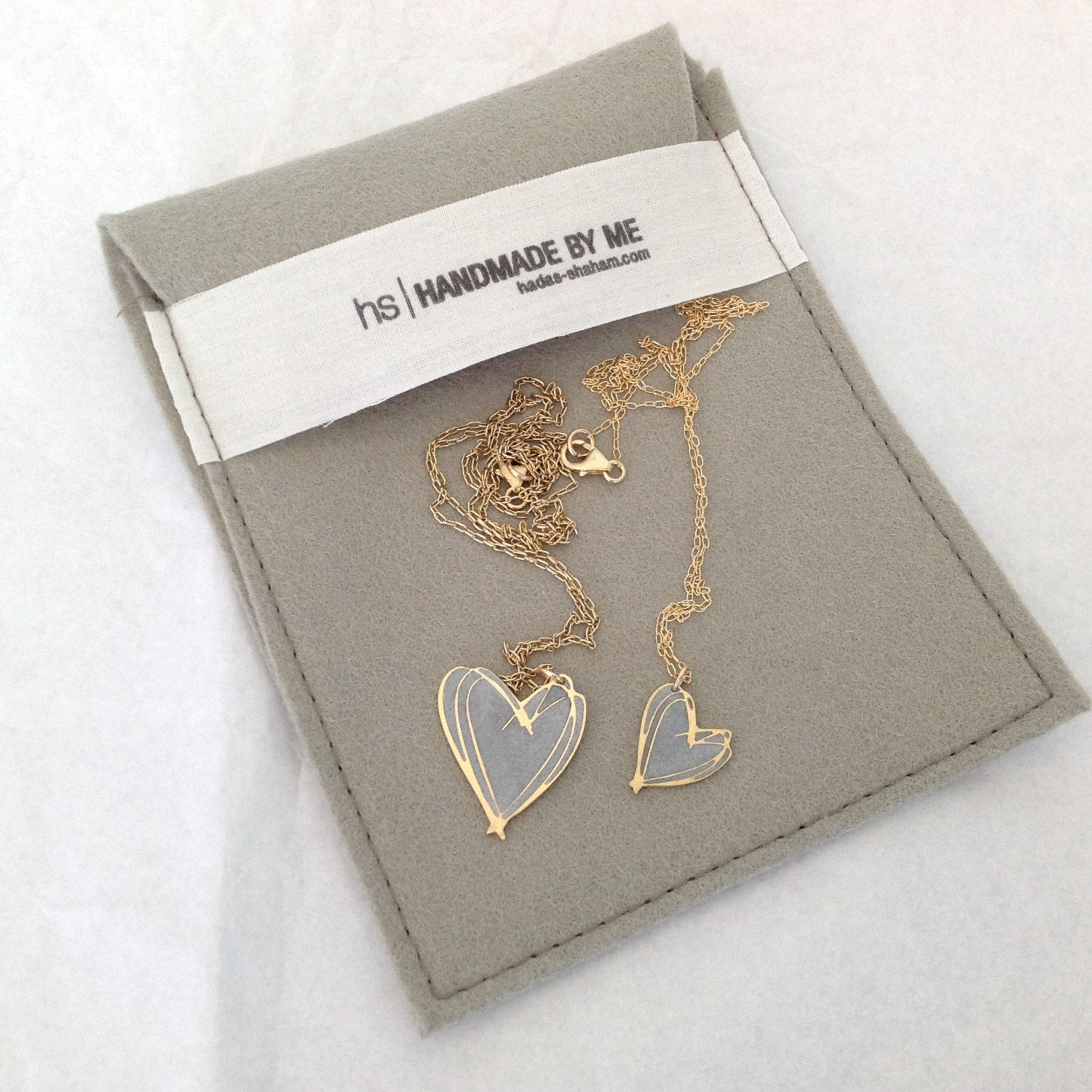Big Long Gold Heart Pendant - hs