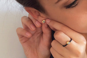 Faceted Gold And Concrete Handmade Modern Earrings Studs - hs