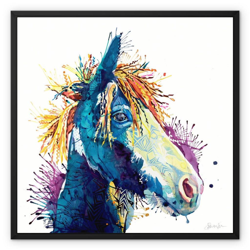 The Dark Horse Framed Canvas-Fine art-Sarah Taylor Art
