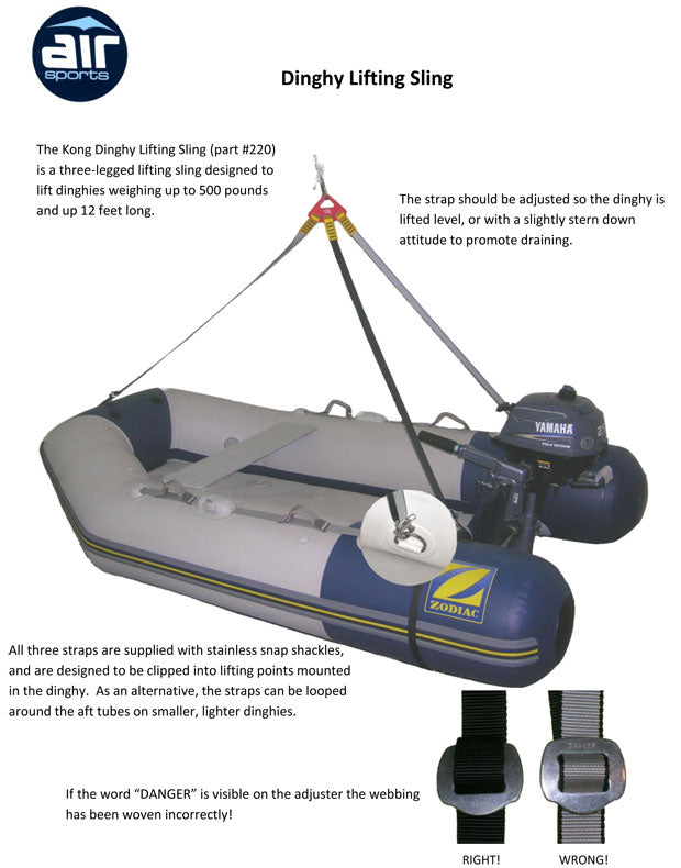 Kong Dinghy Lift Sling - Life Raft and Survival Equipment, Inc.