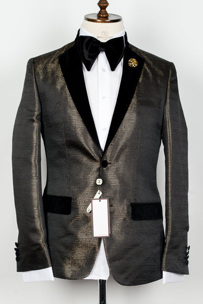 Col Mao - Gold and black pattern half collar 2 button tuxedo